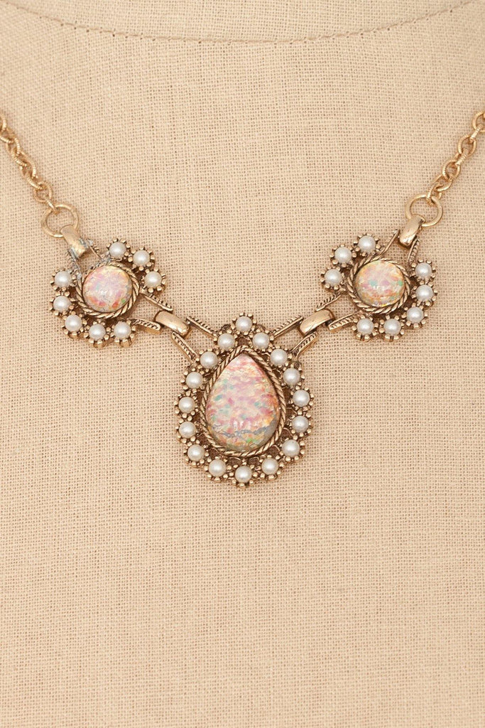 60's__Sarah Coventry__Opal and Pearl Statement Necklace