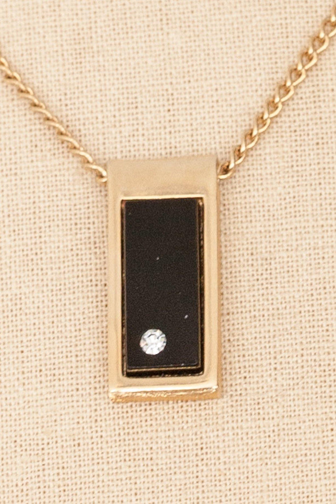 80's__Avon__Rectangle Pendant Necklace