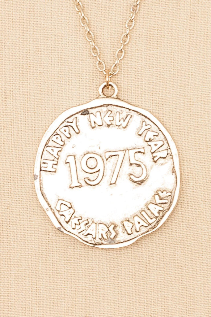 70's__Vintage__Happy New Year Pendant Necklace