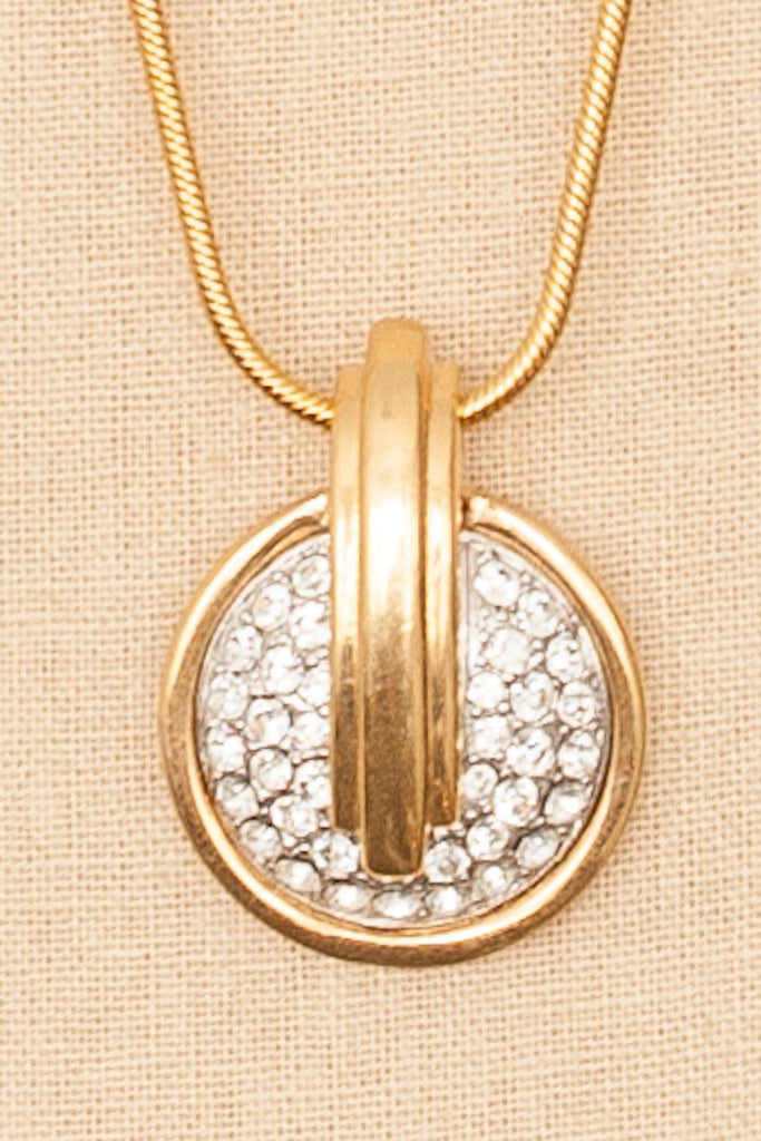80's__Monet__Rhinestone Embellished Pendant Necklace