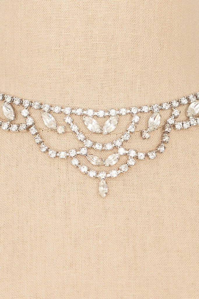 50's__Vintage__Rhinestone Statement Bib Necklace