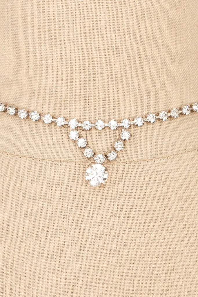 50's__Vintage__Simple Drop Rhinestone Necklace