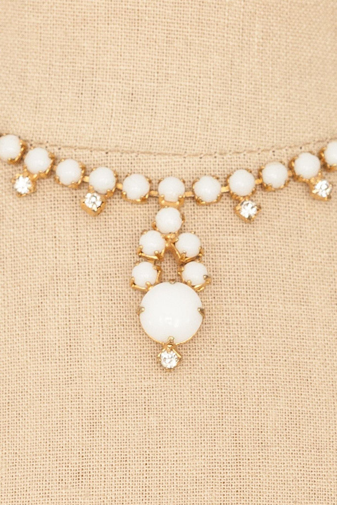 60's__Vintage__Milk Glass Statement Necklace