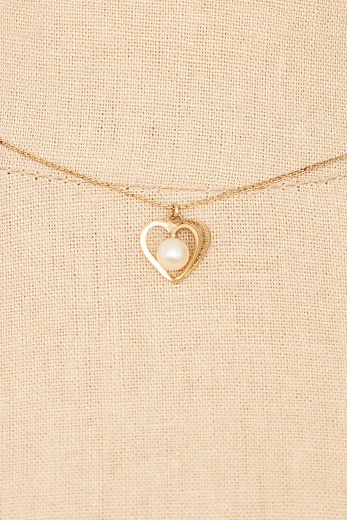50's__Vintage__Pearl Heart Necklace