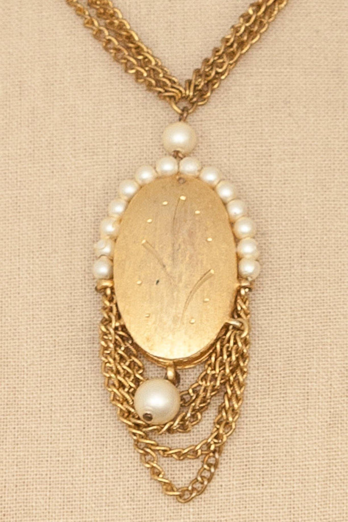 50's__Kramer__Pearl Embellished Pendant Necklace