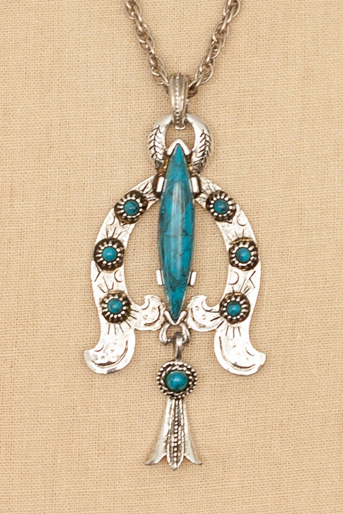 70's__Royal__Turquoise Pendant Necklace