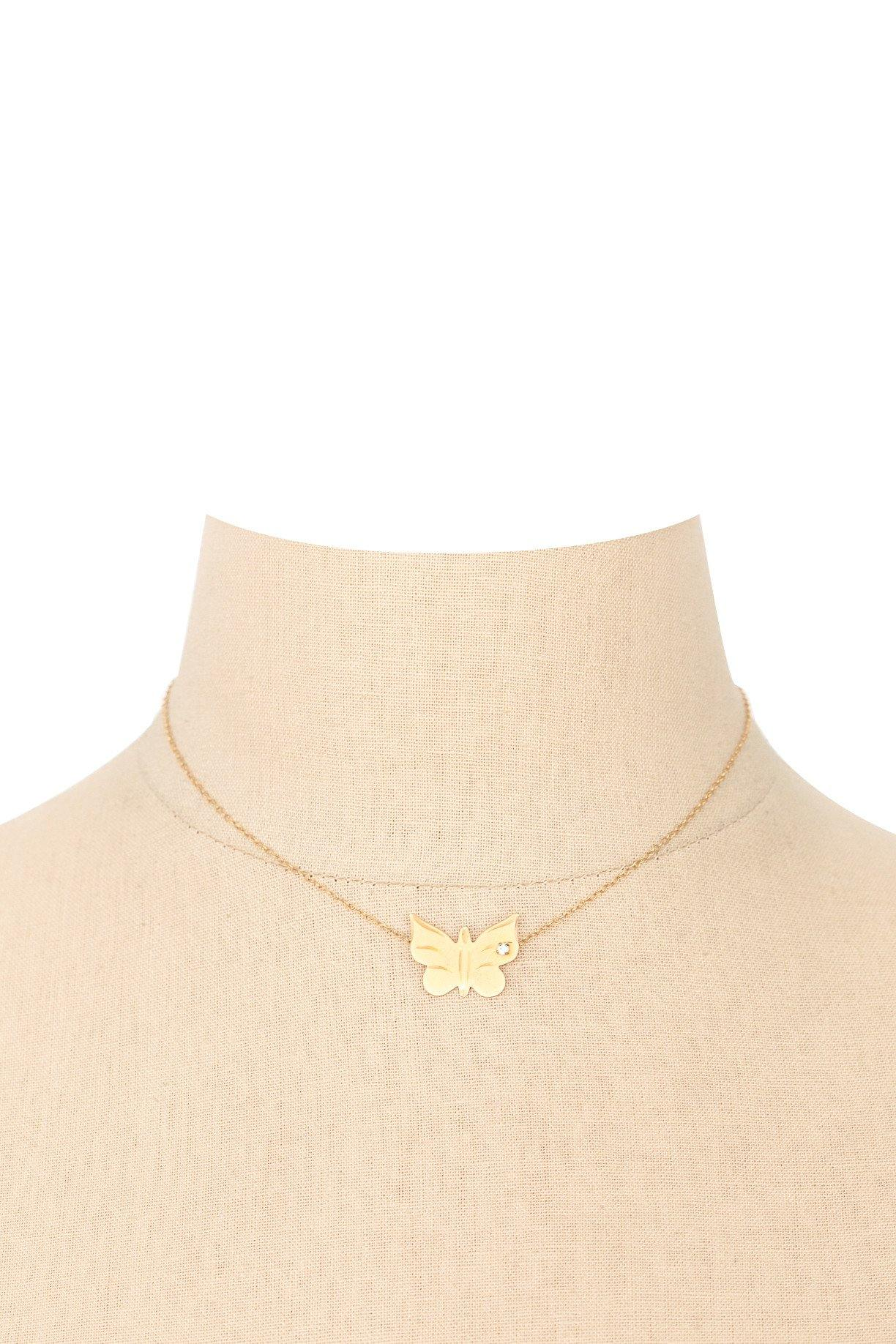 70's__Vintage__14K Gold-Filled Butterfly Pendant Necklace