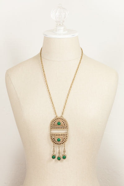 60's__Coro__Green Tassel Necklace