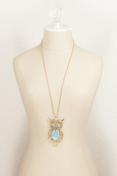 70's__Vintage__Turquoise Owl Necklace