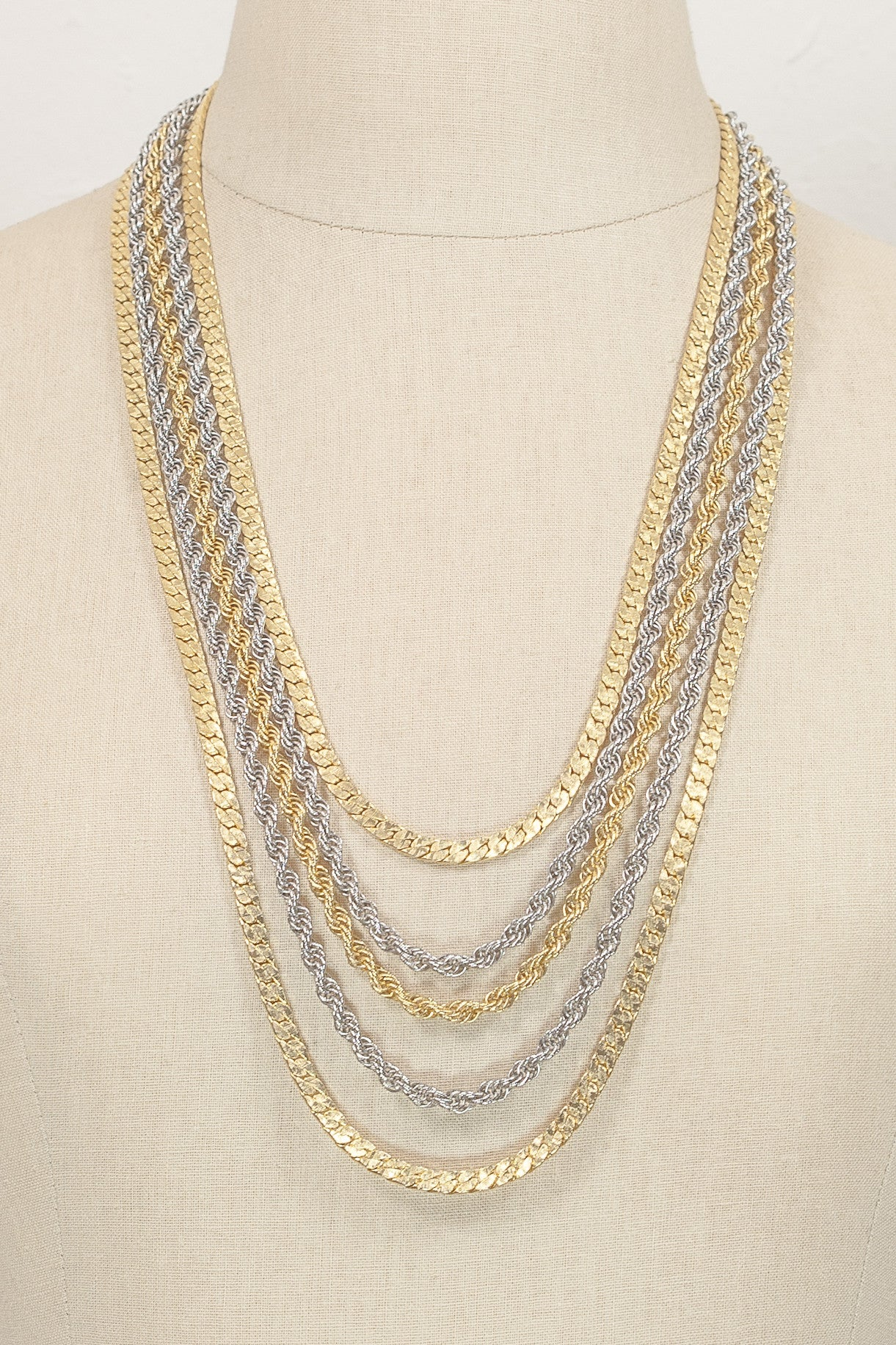 60's__Goldette__Multi Chain Mixed Metal Necklace