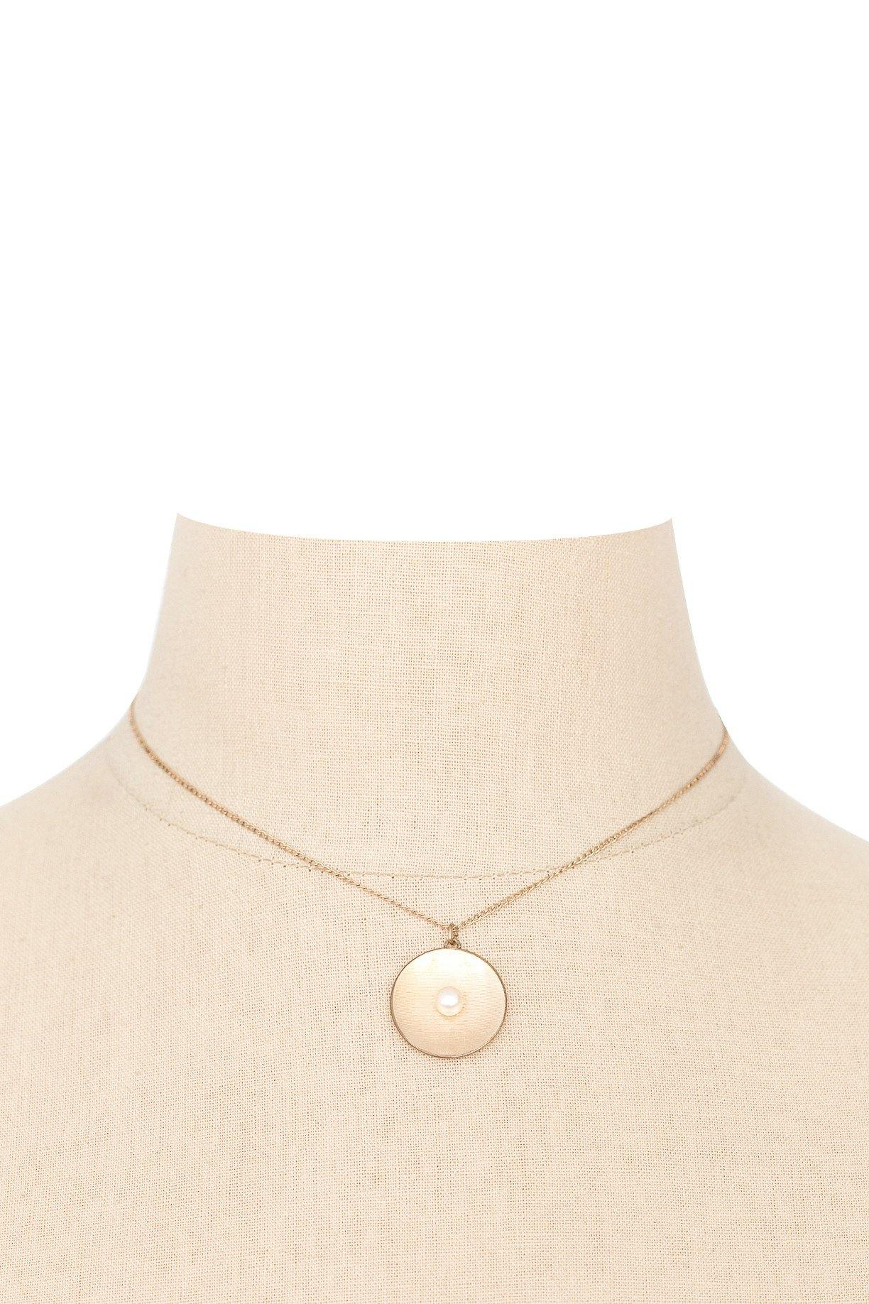50's__Vintage__Pearl Disc Necklace