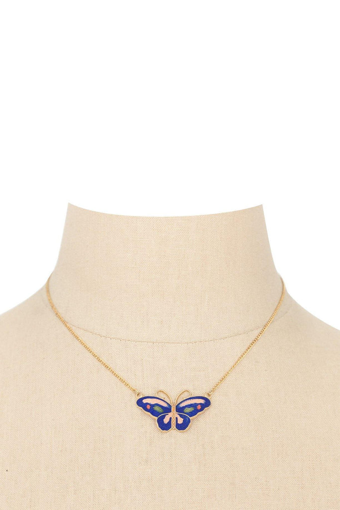 50's__Vintage__Butterfly Pendant Necklace