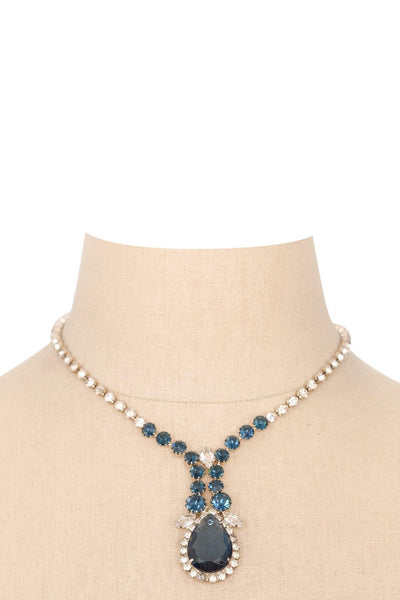 60's__Vintage__Blue Rhinestone Drop Necklace