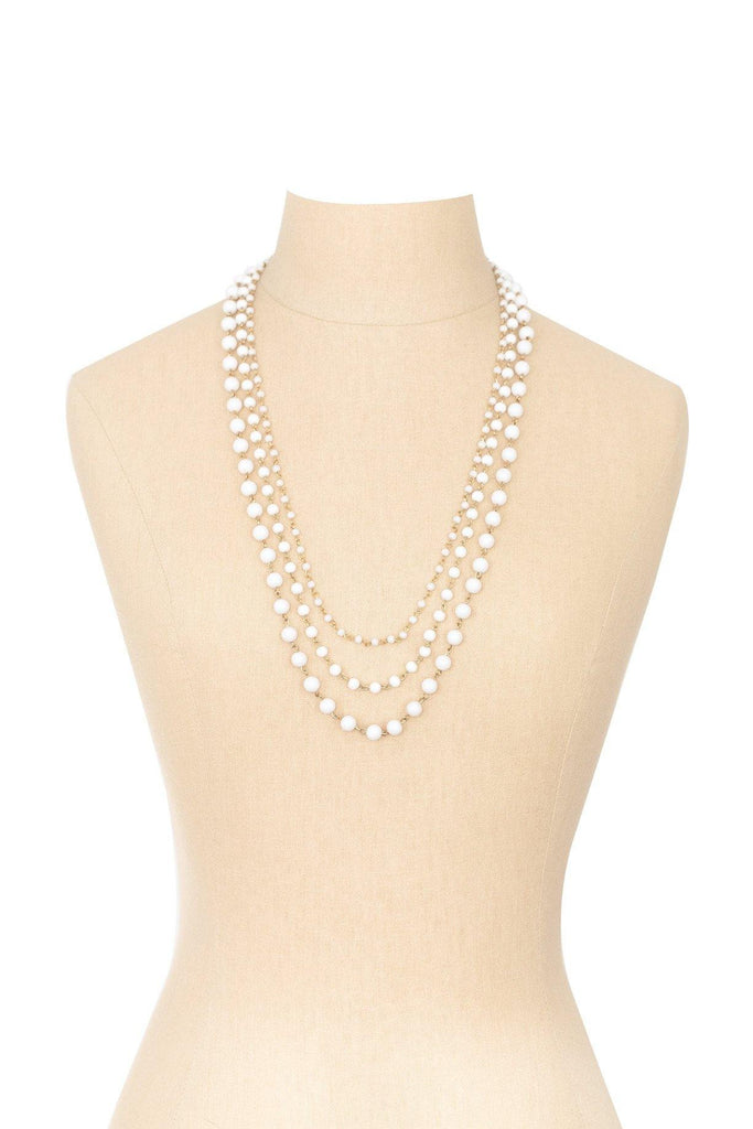 50's__Vintage__Milk Glass Layering Necklace