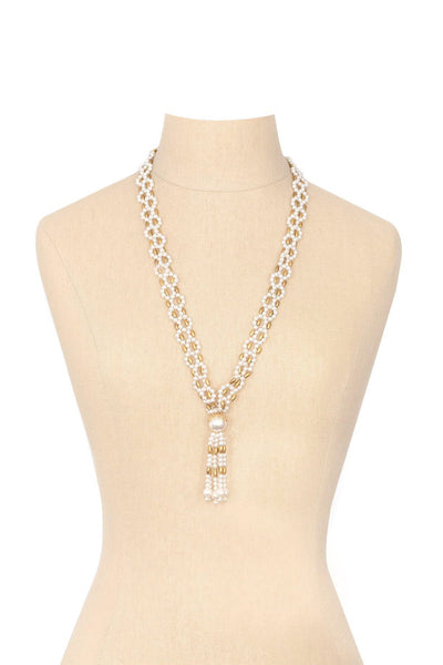 60's__Vintage__Pearl Tassel Necklace