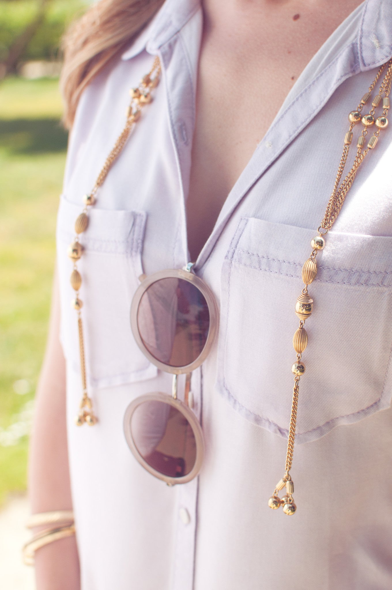 70's__Sarah Coventry__Open Triple Chain Tassel Necklace