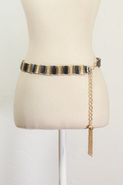 90's__Vintage__Black and Gold Chain Belt