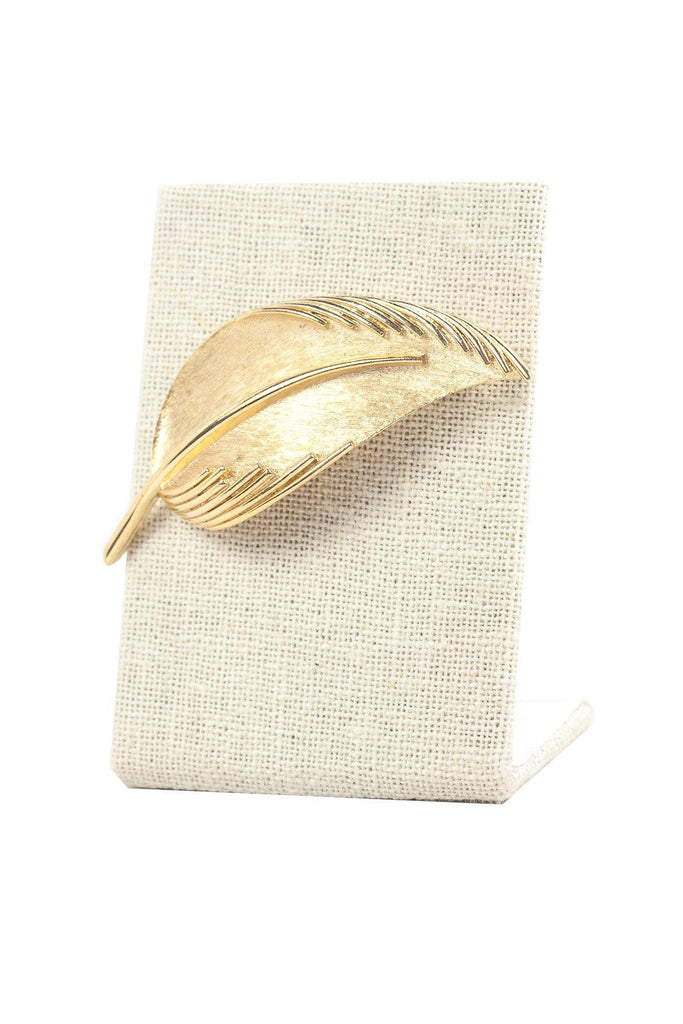 60's__Trifari__Etched Leaf Brooch