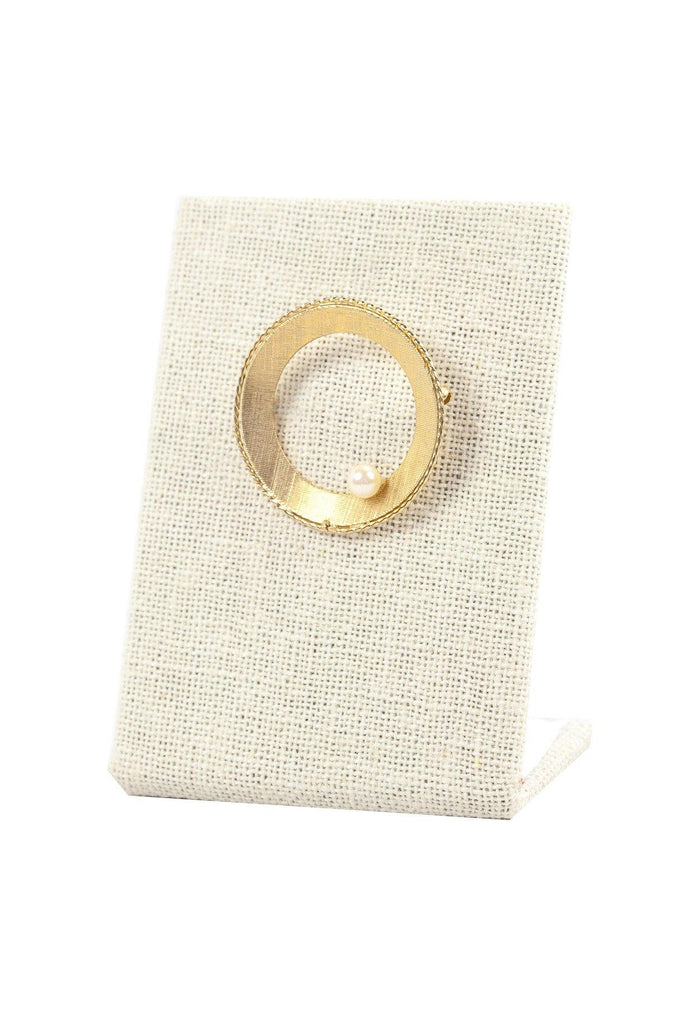 50's__Bergere__Circle Pearl Brooch