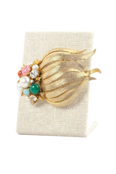 60's__Vintage__Statement Stone & Pearl Brooch