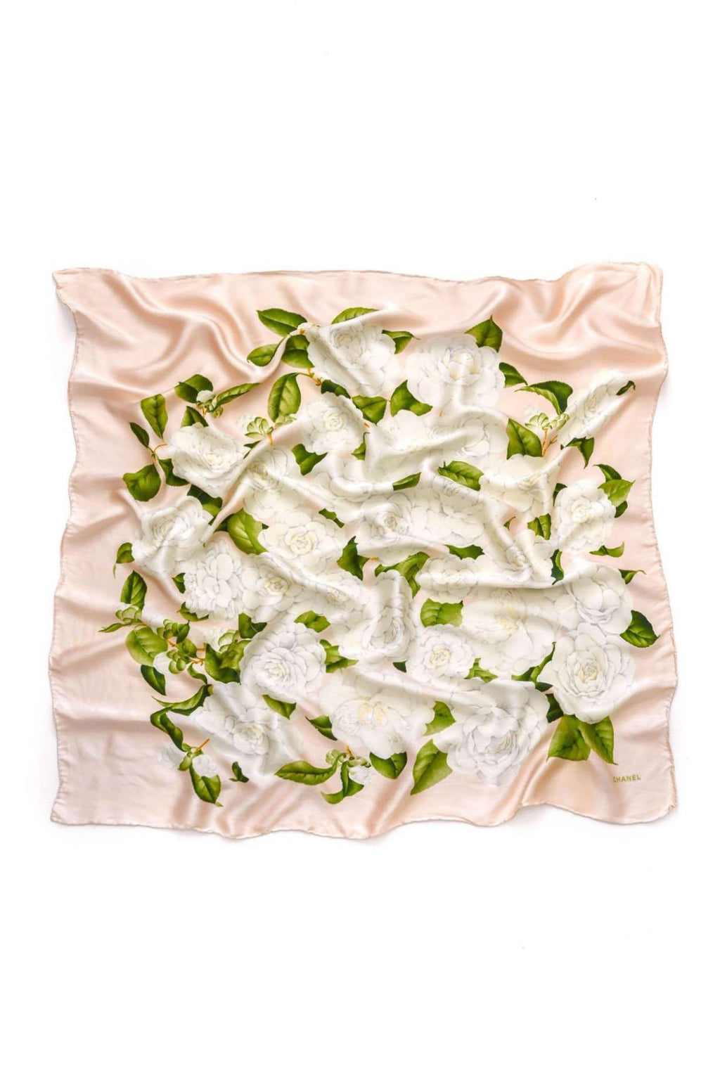 Chanel Soft Pink Camellia Scarf