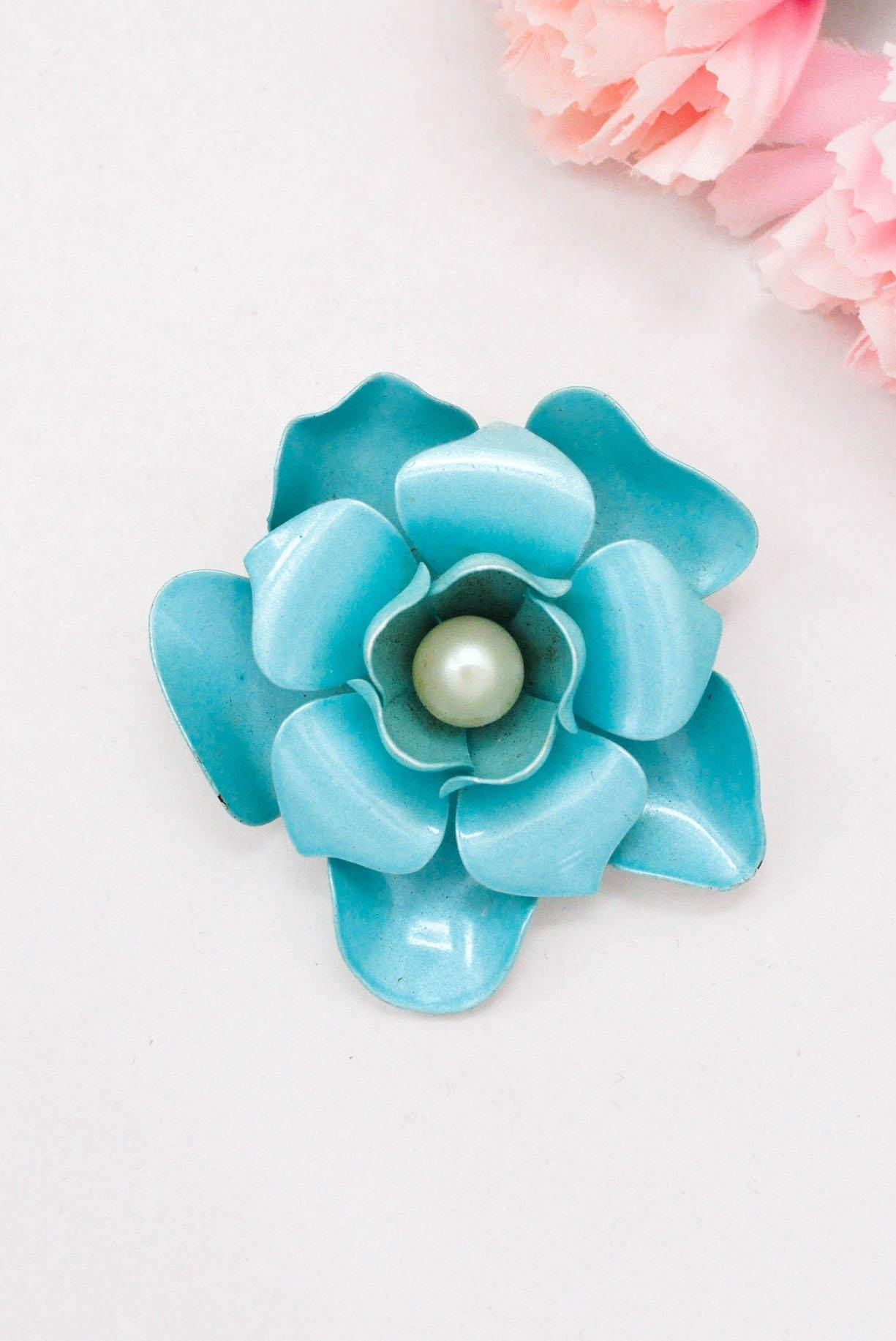 Large Blue Floral Brooch