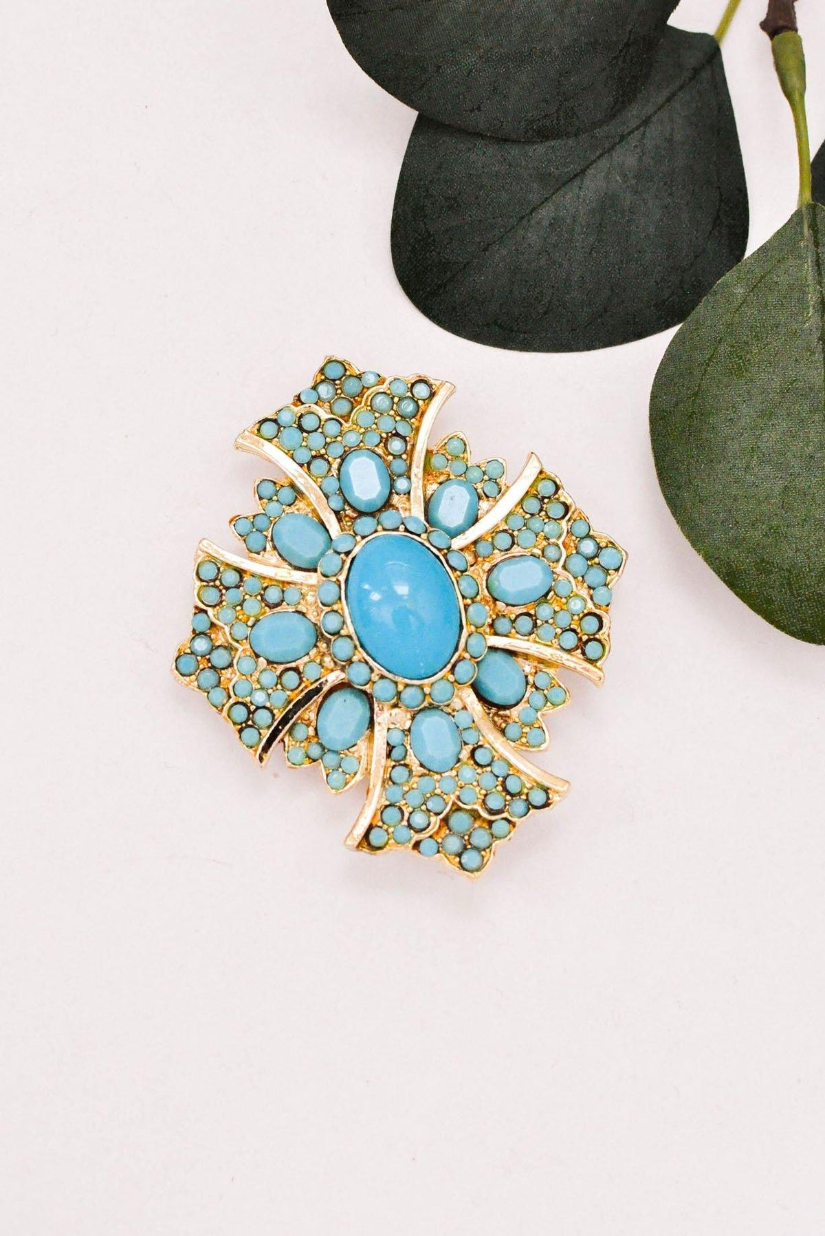 Large Turquoise Cross Statement Brooch