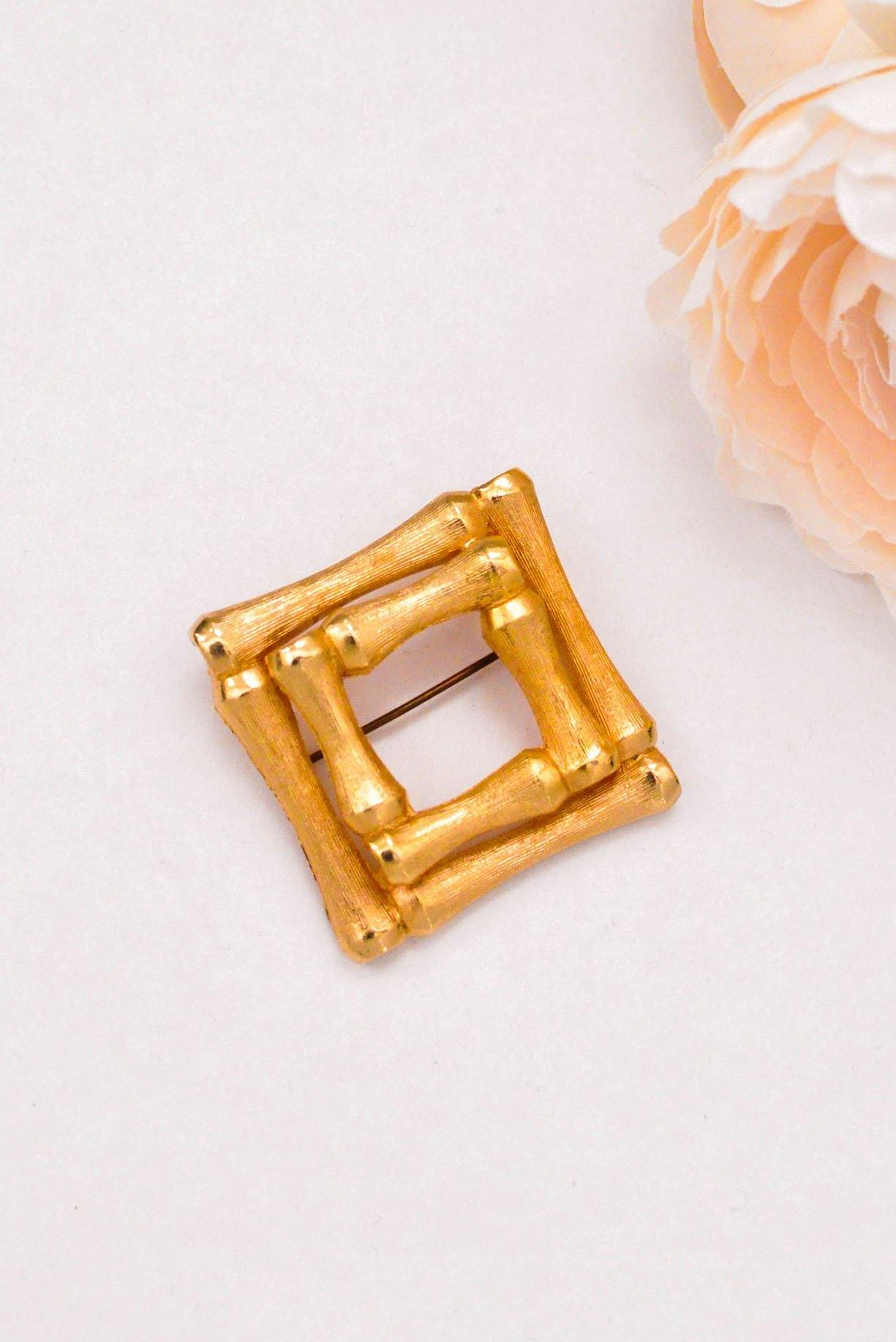 Gold Square Brooch