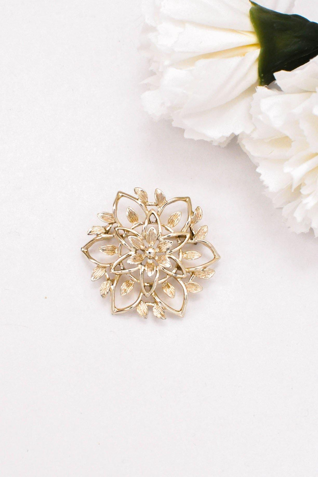 Soft Gold Floral Brooch