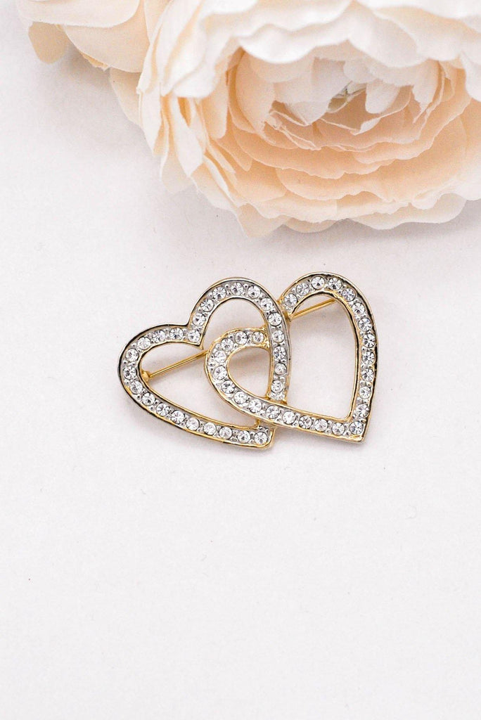 Double Heart Rhinestone Brooch
