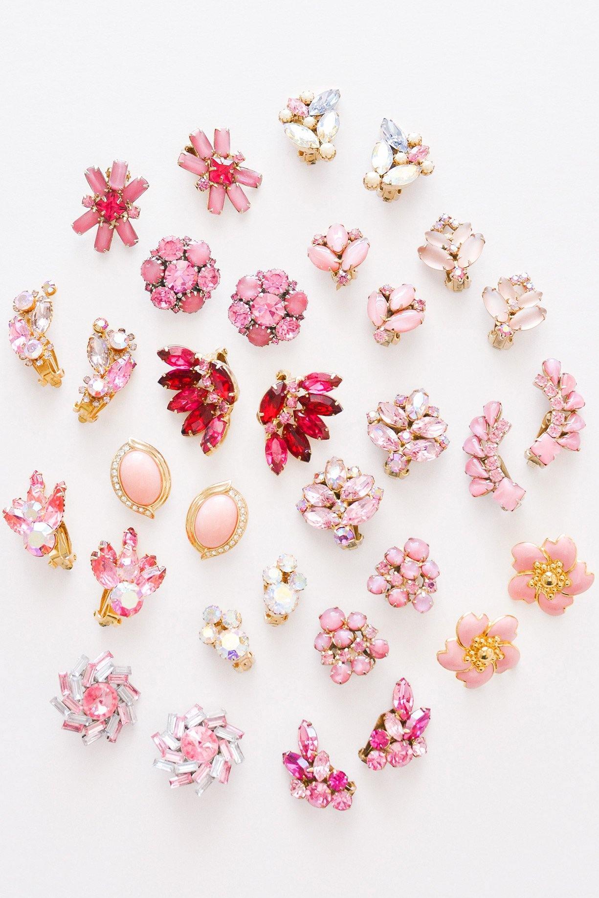 Floral Rhinestone Crawler Clip-on Earrings