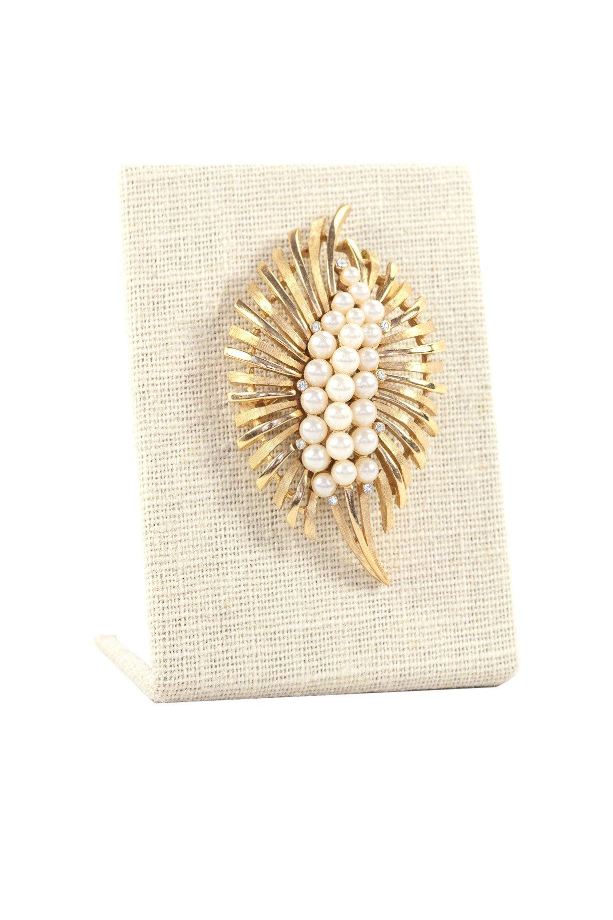 50's Trifari Etched Pearl Brooch