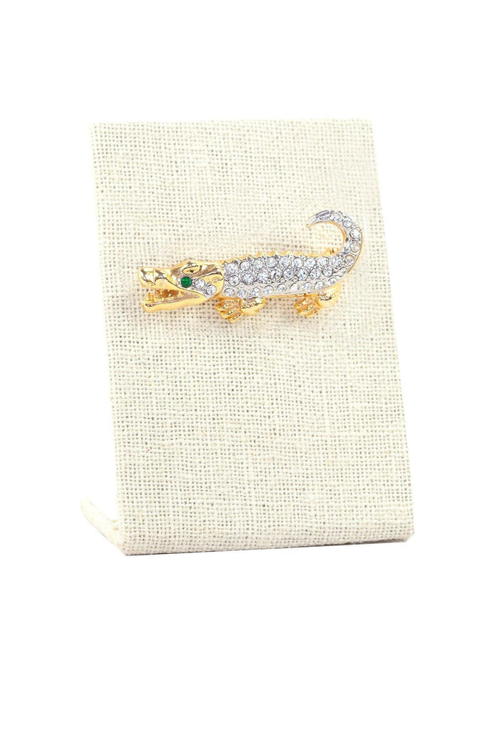 80's__Vintage__Embellished Alligator Brooch