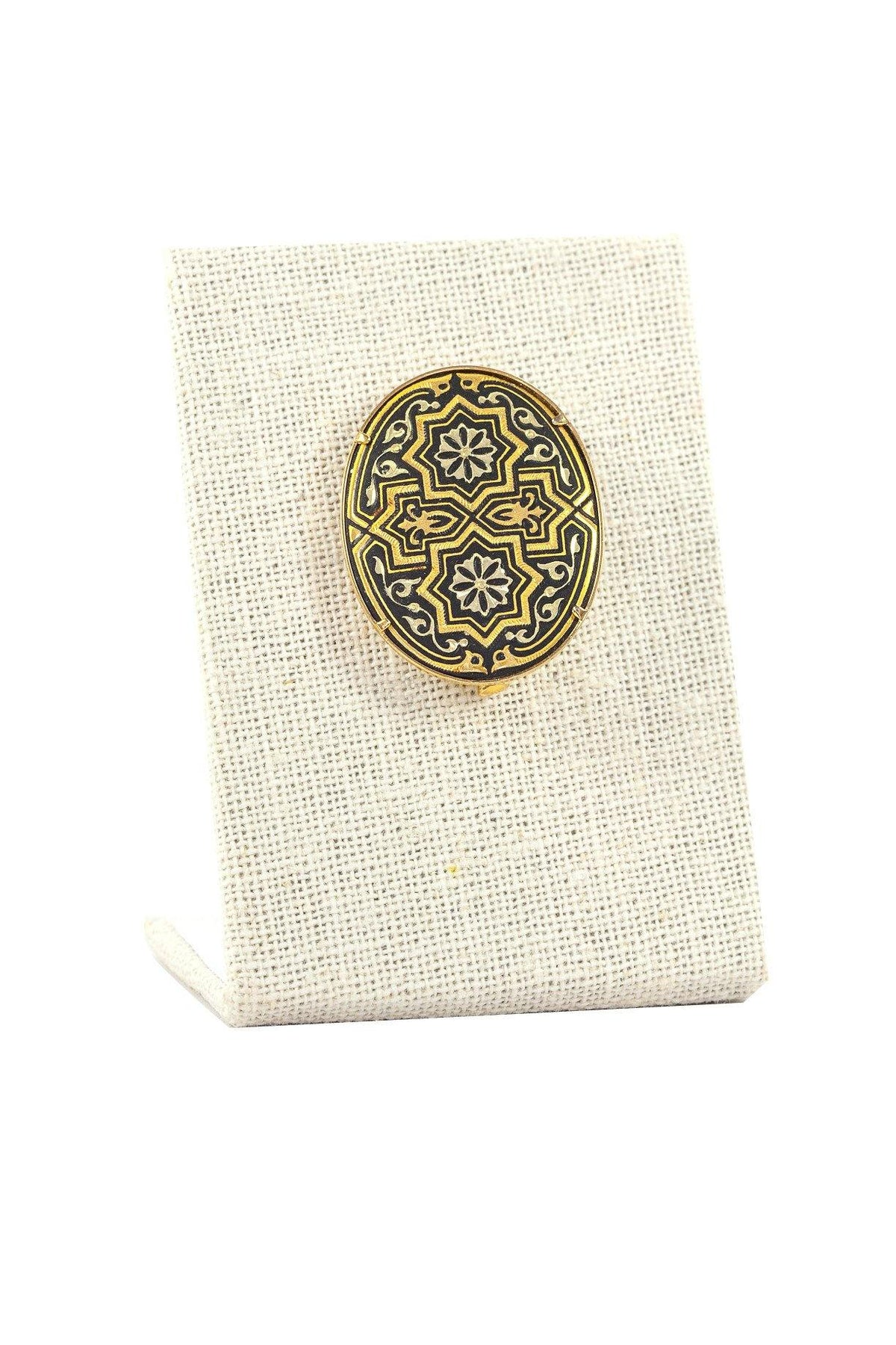 50's Vintage Damascene Brooch