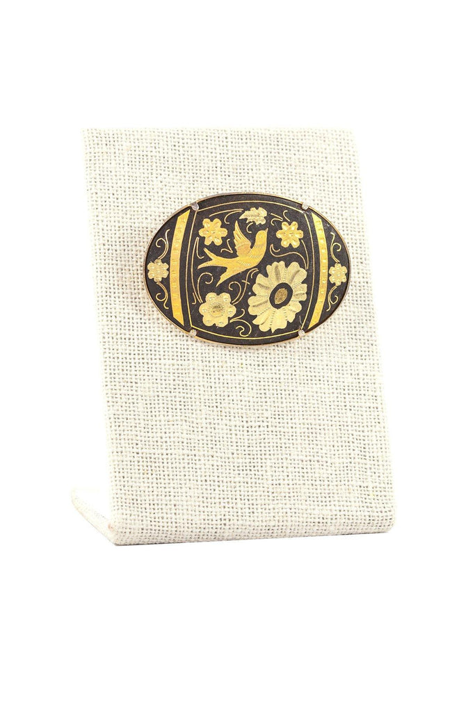 50's__Vintage__Floral Damascene Brooch