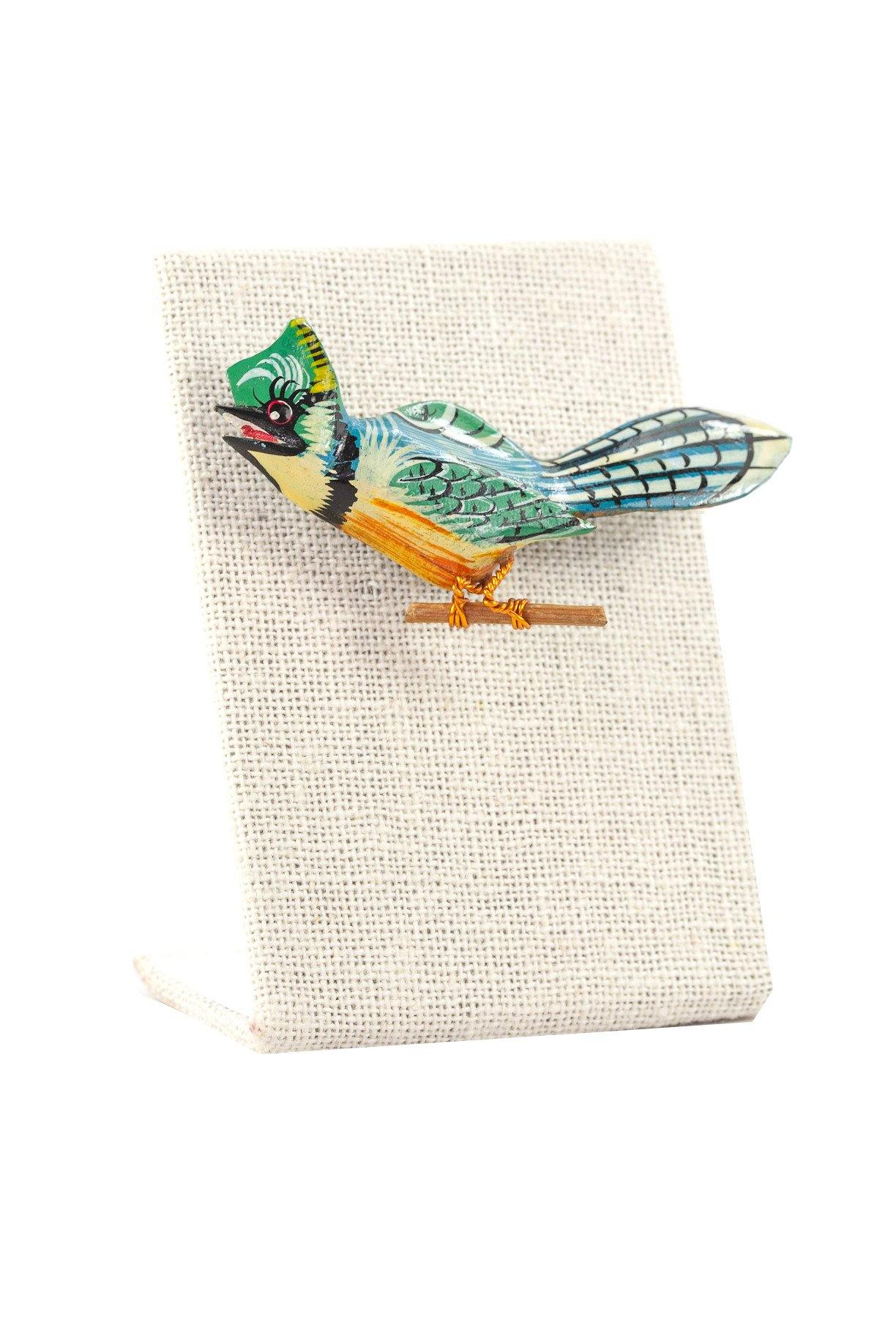 60's__Vintage__Wooden Bird Brooch