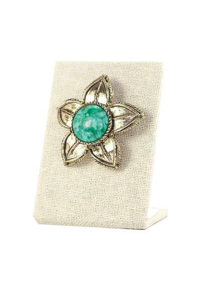 70's__Vintage__Turquoise Floral Brooch