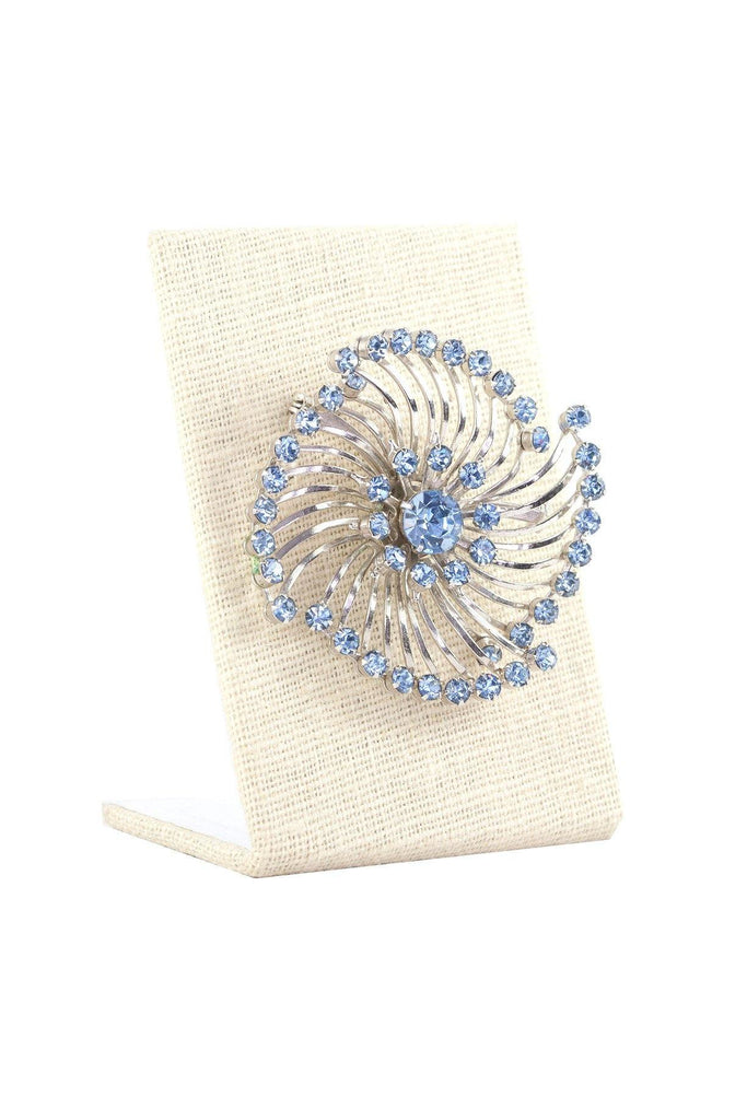 50's__Vintage__Blue Rhinestone Statement Brooch