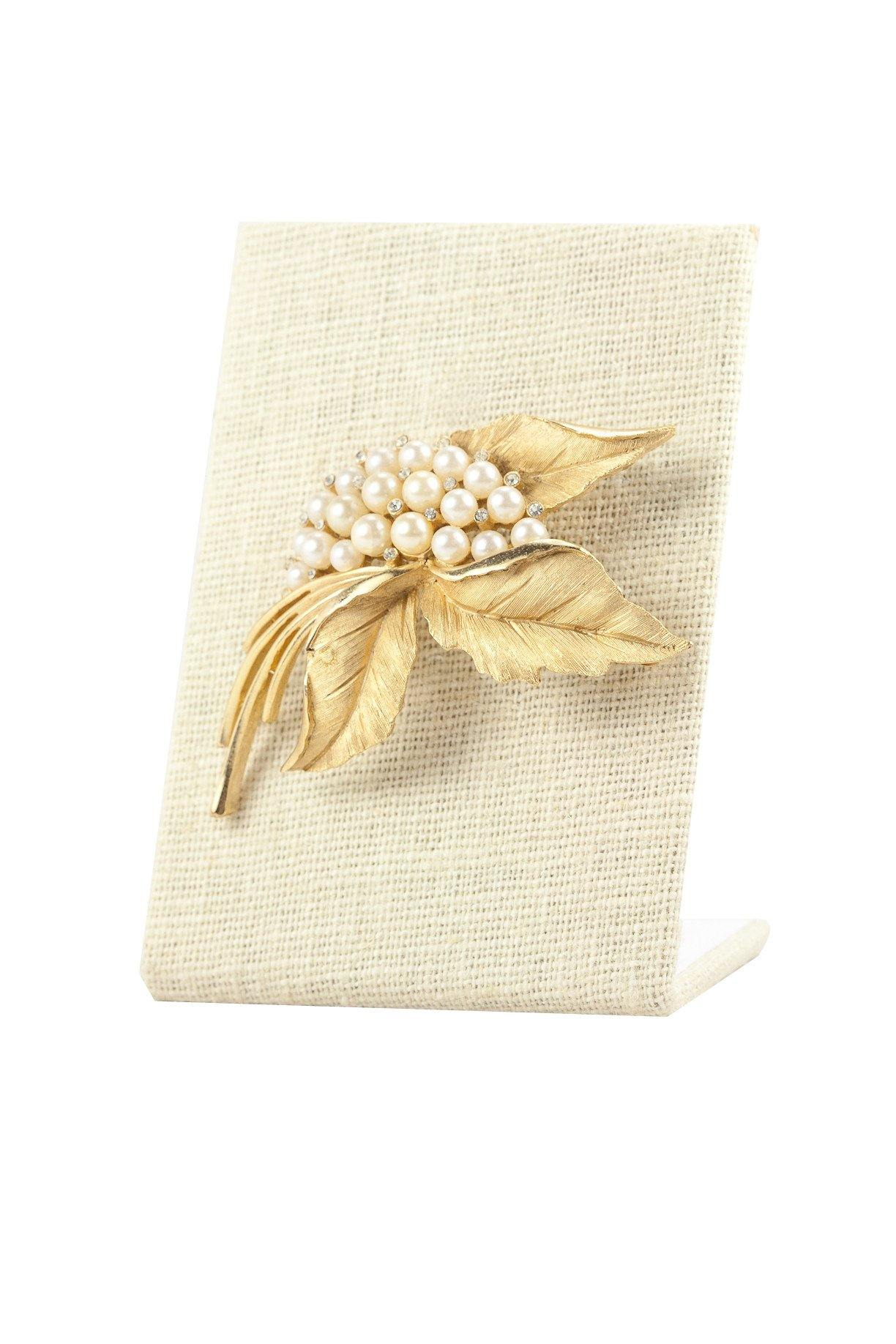 50's Trifari Pearl Embellished Leaf Brooch