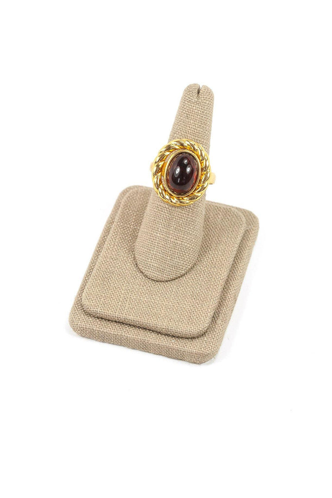 60's__Trifari__Stone Cocktail Ring sz 6 to 8