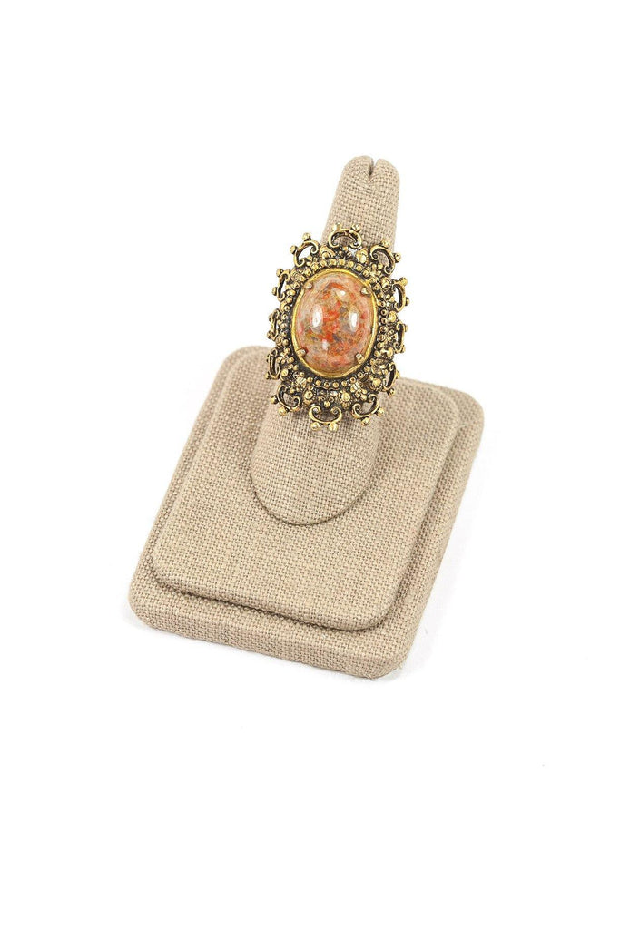 60's__Vintage__Filigree Stone Ring
