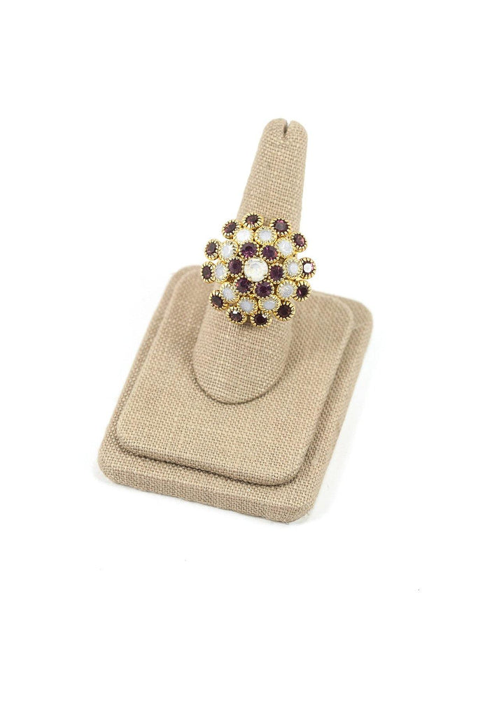 60's__Vintage__Adjustable Rhinestone Burst Ring
