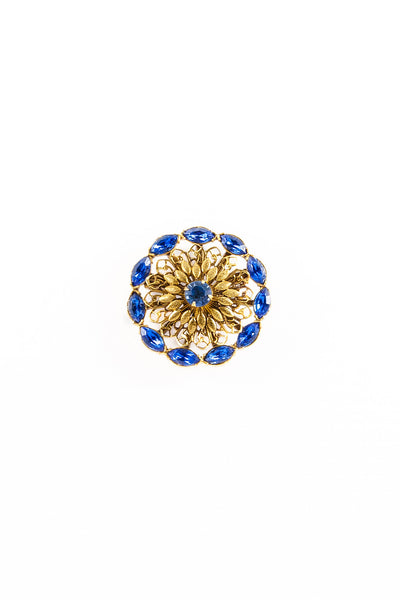 60's__Vintage__Blue Rhinestone Statement Brooch