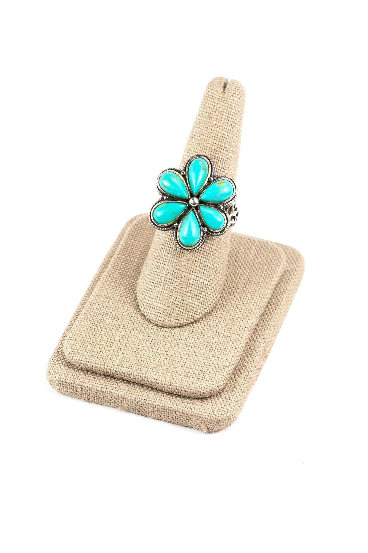 80's__Vintage__Floral Turquoise Sterling Ring