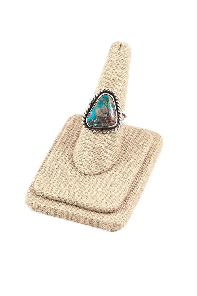 70's__Vintage__Boho Turquoise Sterling Ring sz 8 1/2