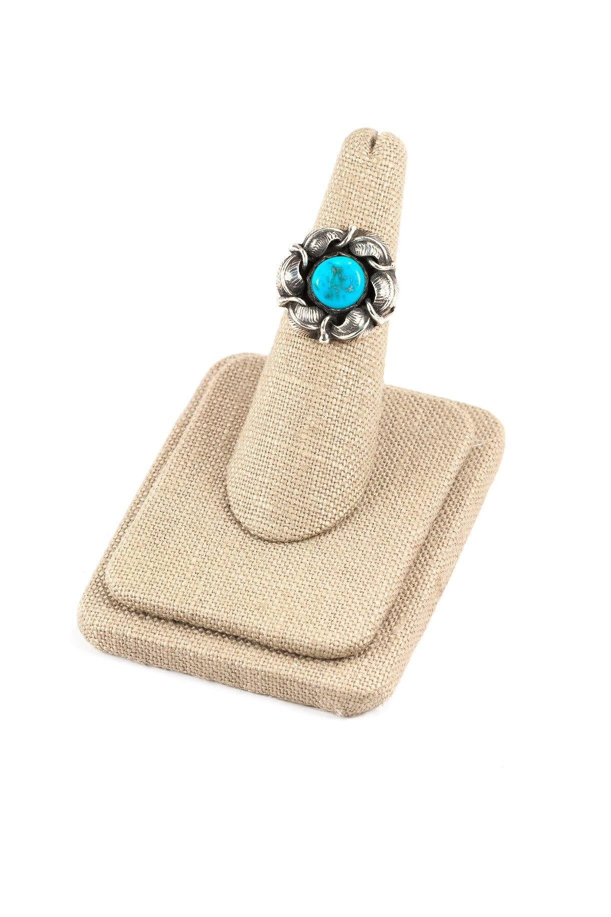 50's__Vintage__Turquoise Sterling Ring sz 6