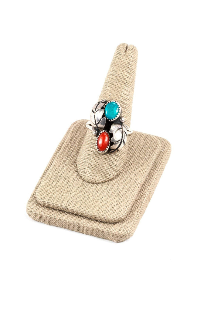 70's__Vintage__Turquoise Feather Sterling Ring sz 10