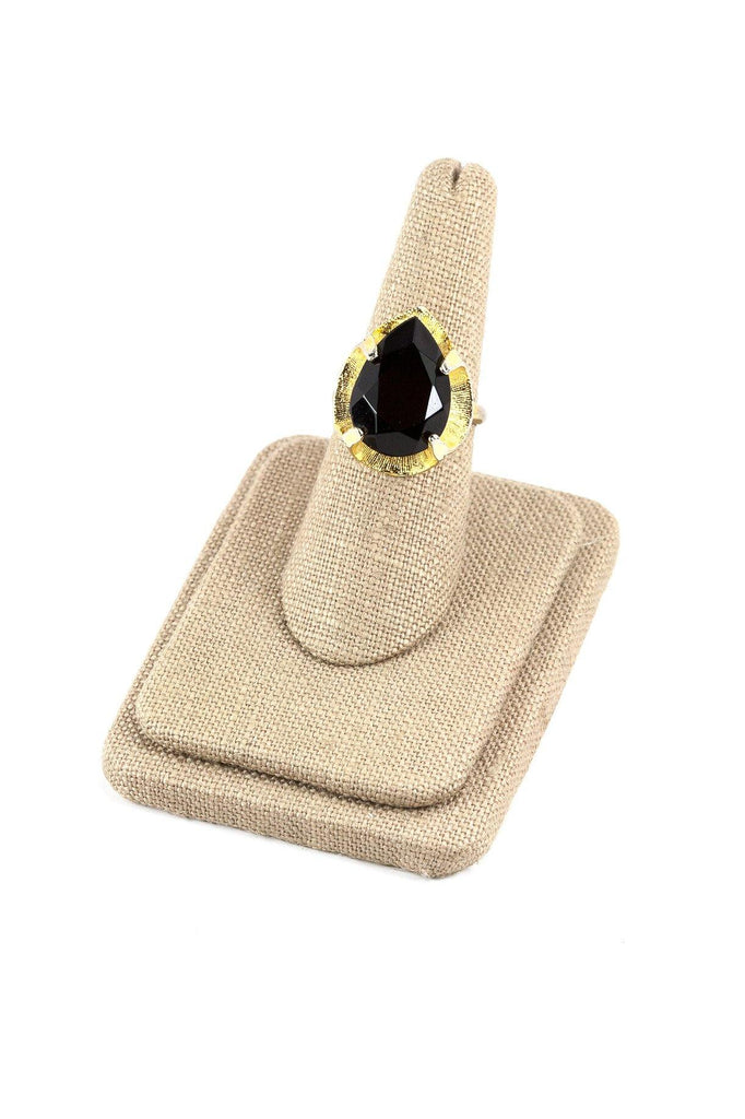 70's__Vintage__Adjustable Black Rhinestone Cocktail Ring