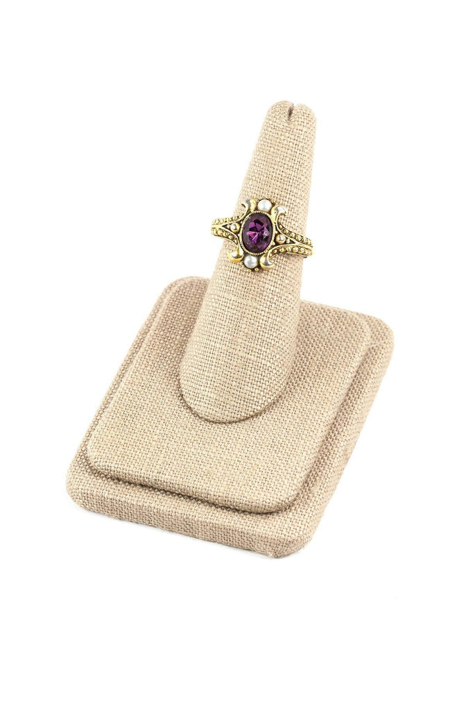 80's__Avon__Adjustable Amethyst Ring sz 4 to 6