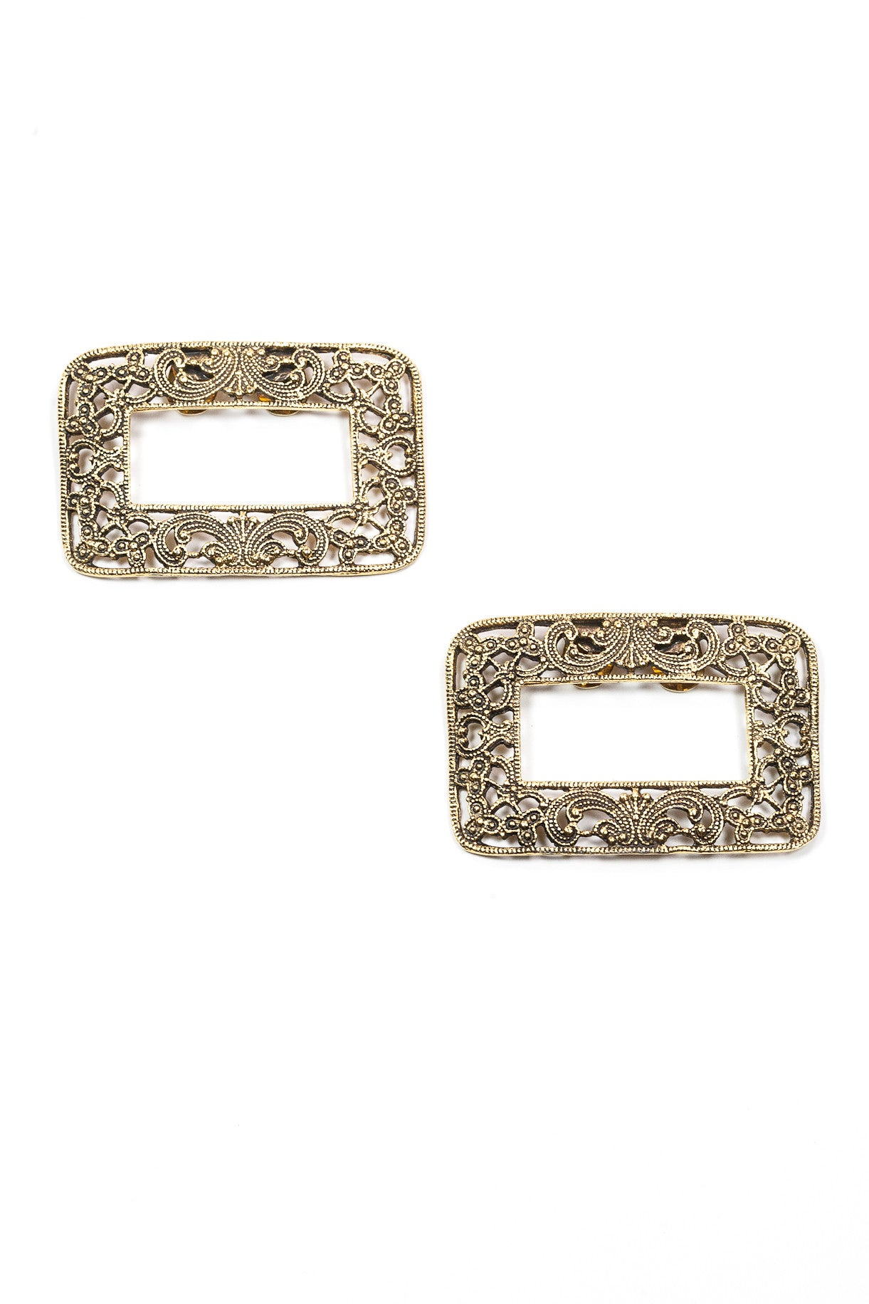 50's__Vintage__Rectangle Rhinestone Shoe Clips